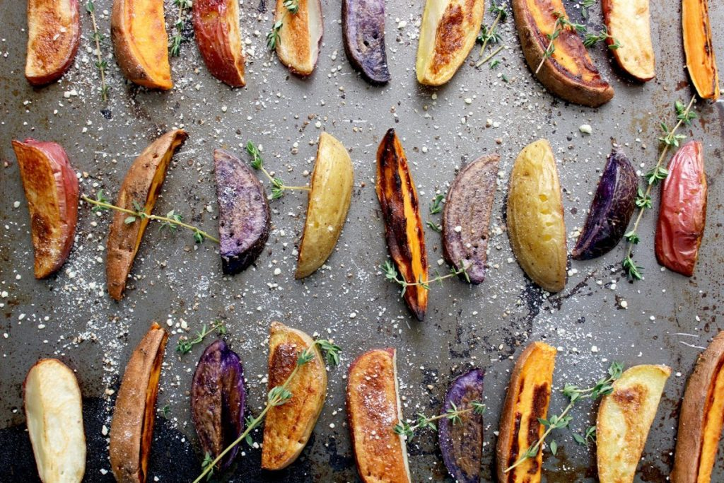 Roasted Thyme Parmesan Potato Wedges