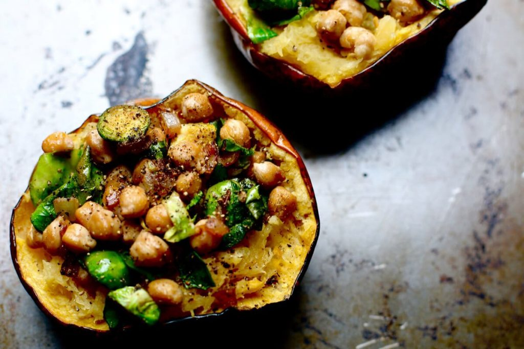 Chickpea Stuffed Acorn Squash