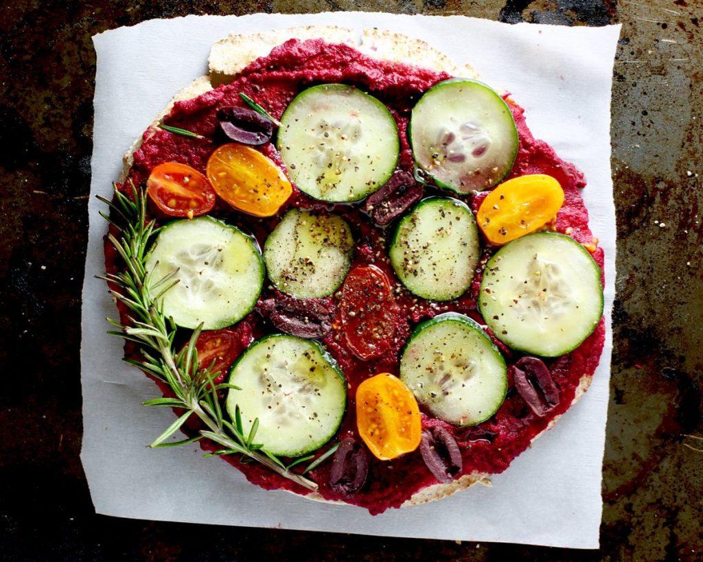 roasted beet rosemary pita pizza