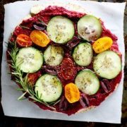 roasted beet rosemary pita pizza