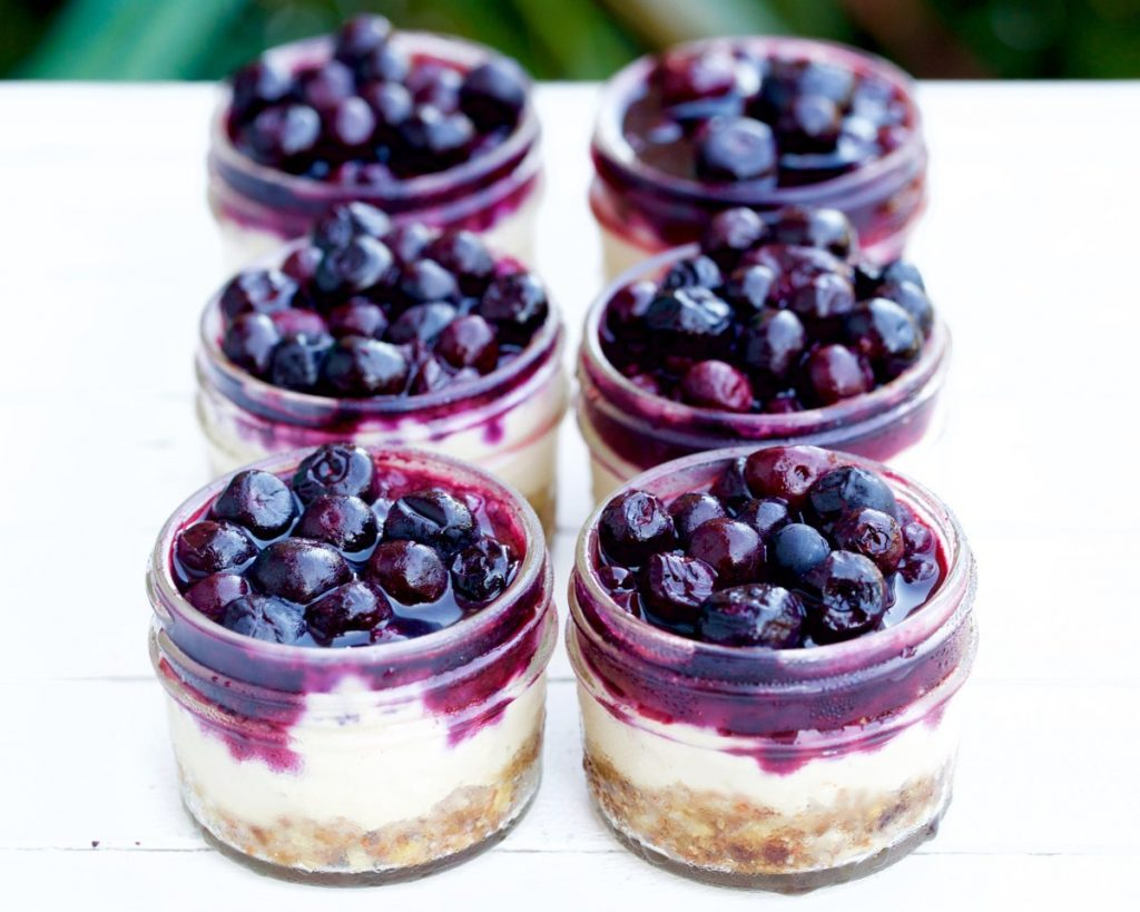 Bite-Sized Vegan Blueberry Cheesecakes