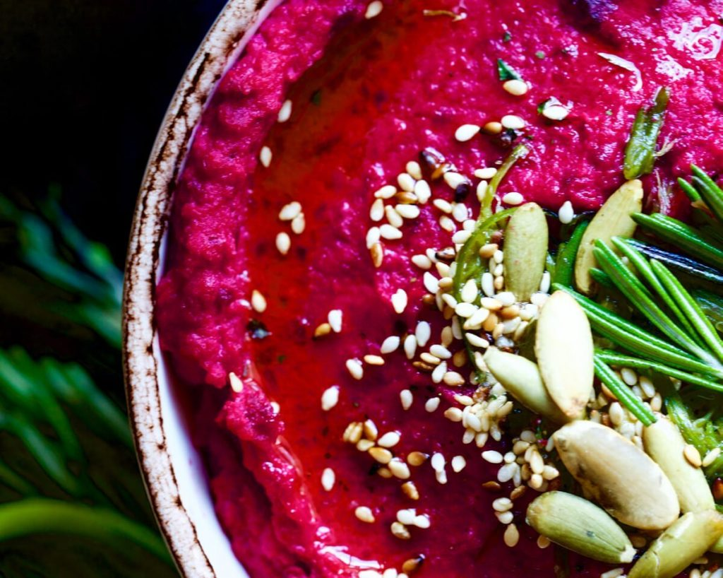 Roasted Garlic Beet Hummus w/ Garlic Scapes