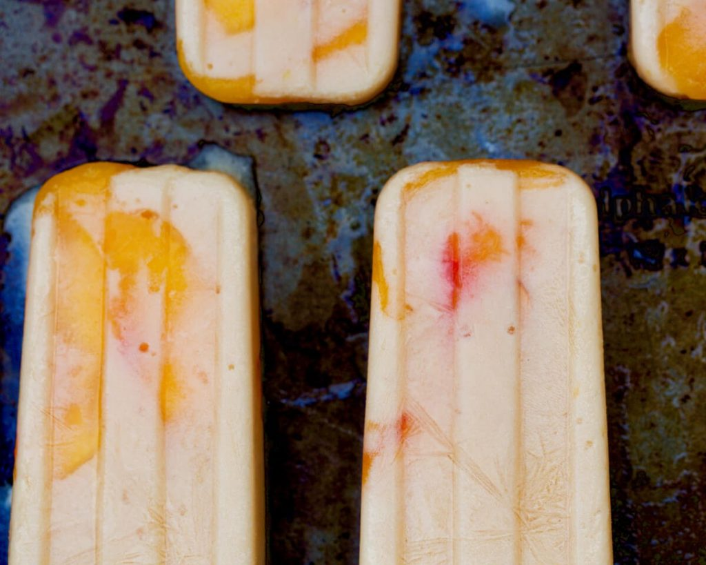 Peaches and Coconut Cream Popsicles