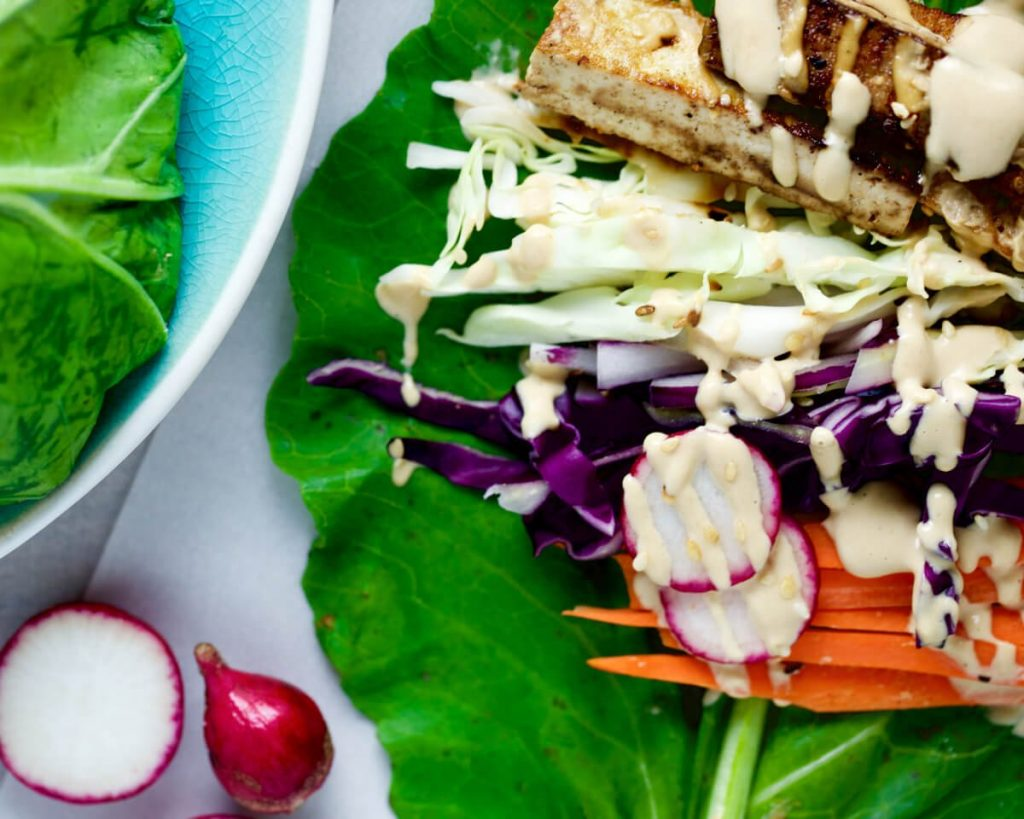 Vegetable Collard Wraps with Peanut Sauce