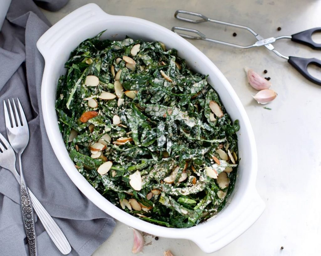 Roasted Garlic Massaged Kale Salad